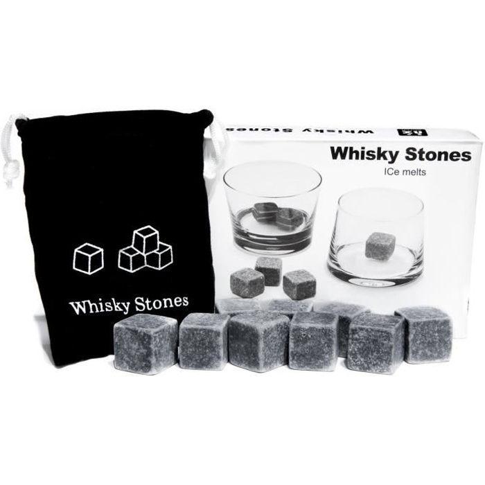 Lot de 9 pierre à whisky en granit avec pochette de rangement en mousseline.