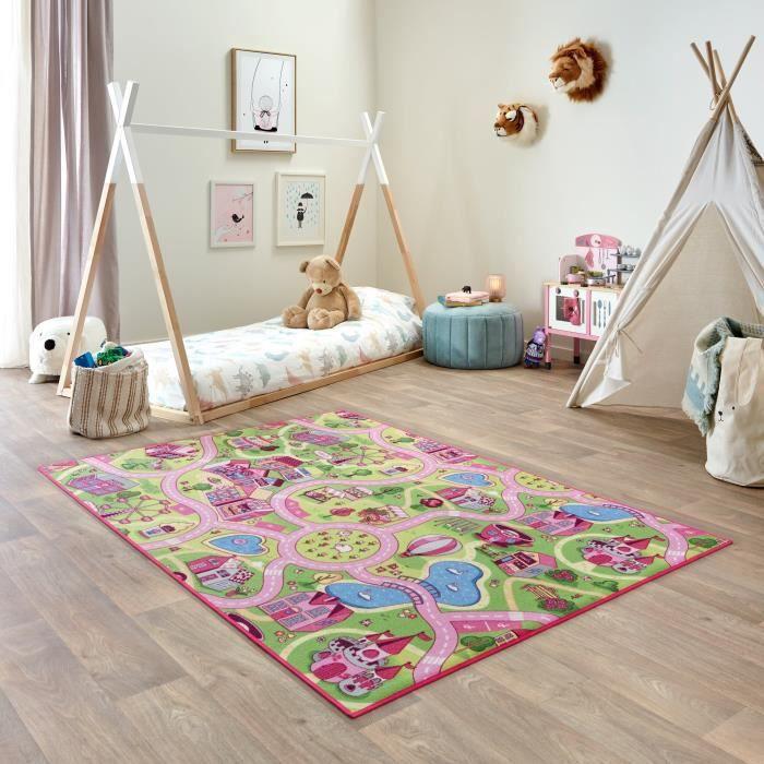 Tapis de Jeu Enfant 140x200cm, Sweet Town - Tapis Circuit Voiture - Lavable - Antidérapant - Carpet Studio