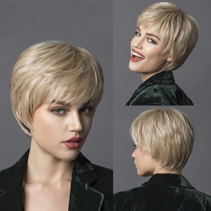 9667 -Amir – perruque synthétique courte brune pour femmes, cheveux naturels lisses avec frange latérale, coupe Pixie, pour Cosplay
