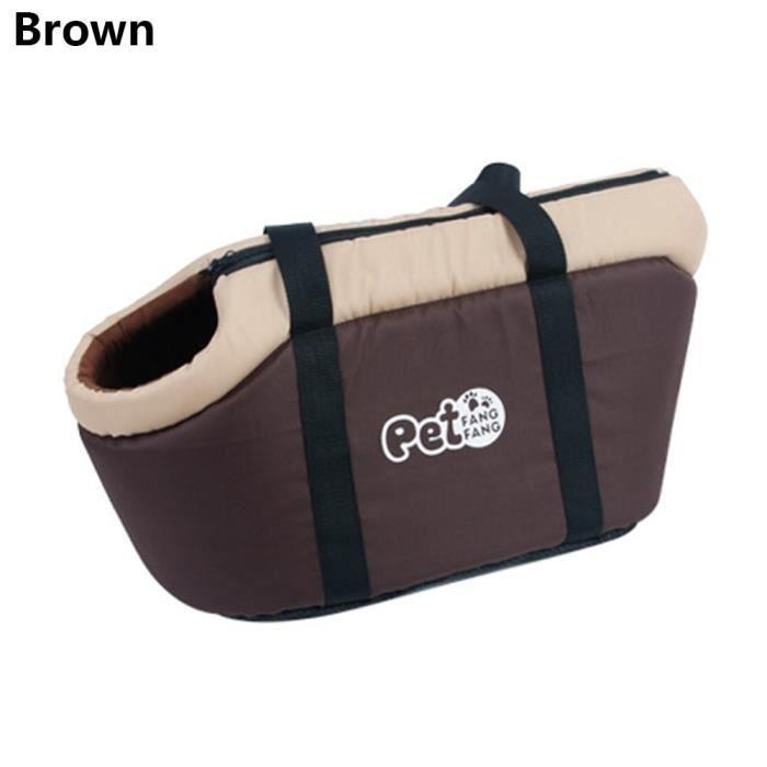 Sac de transport,Sac de voyage pour animaux de compagnie Portable chats sac à main chien transporteur respirant sac - Type Brown-L