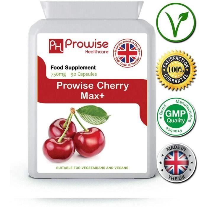 Compléments à base de plantes Cherry Max 750 mg 90 capsules - Cerises Montmorency lyophilisées de haute résistance - Fab 140867