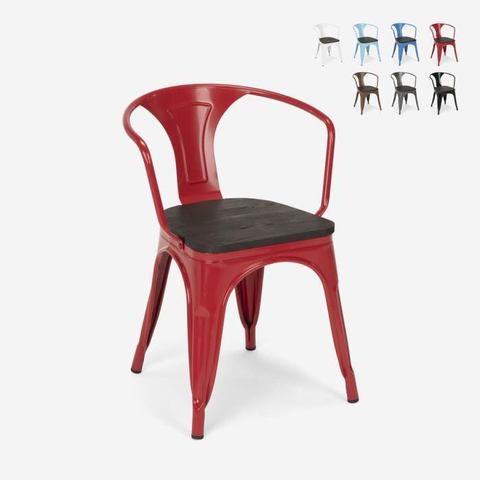 Chaises design industriel en bois et métal de style Tolix Cuisines de bar Steel Wood Arm, Couleur: Rouge