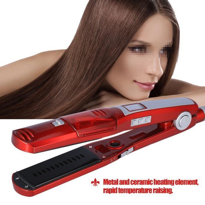 Lisseur Cheveux Professionnel Fer à Lisser anti-frisottis Plaques Larges pour cheveux epais et longs Ecran LCD HB008
