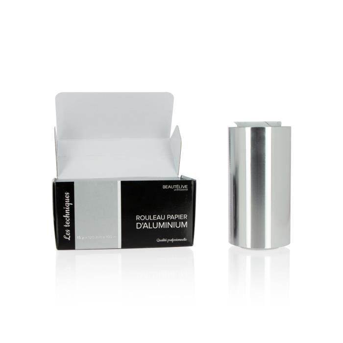 Matériel de coiffure - Papier aluminium mèches 15 microns, 12cmx100m - Beautélive