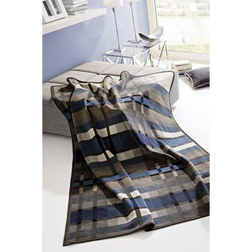Bocasa Biederlack Couverture/couvre-lit 150 x 200 cm Bleu ''cosse Couverture/couvre-lit avec dessus Thermosoft Triangles Multicolore