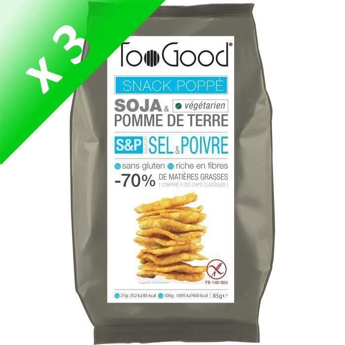 [LOT DE 3] Snack poppé saveur sel et poivre 85g Toogood