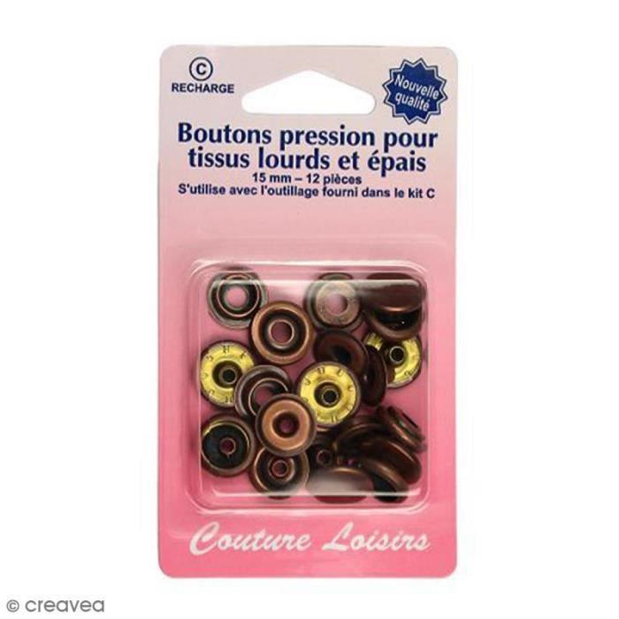 Bouton pression Bronze 15 mm - 12 pcs - Pour tissus lourds et épais