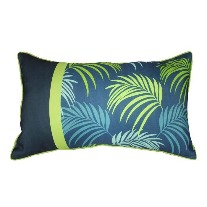 coussin déhoussable passepoil 30 x 50 cm blue végétal dessin placé