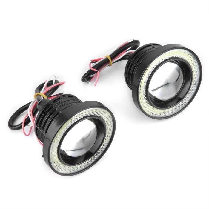 Drfeify feu antibrouillard Angel Eye Voiture 30W RGB LED antibrouillard COB Angel Eye Halo Anneau Lampe Super Lumineuse avec