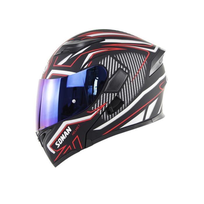 Casque modulable de Marque de moto double lentilles casque de sécurité de Route tourer Unisexe Adultes