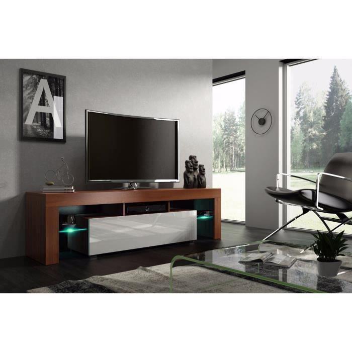 Meuble tv 160 cm noyer MDF et blanc laqué avec led