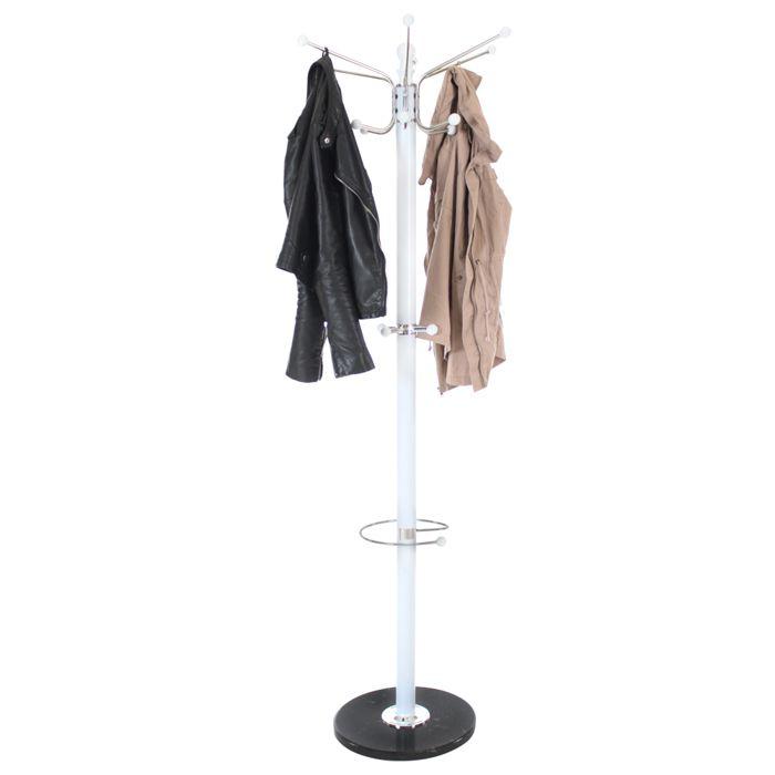 TECTAKE Porte Manteau sur Pied Design + Porte Parapluie en Métal 170 cm Blanc