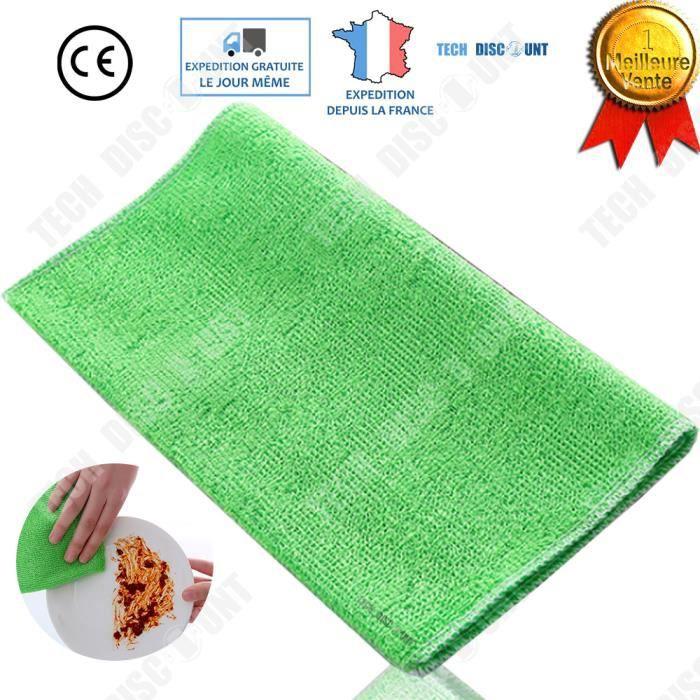TD® Chiffon cuisine double-couche en fibres de bambou antiadhésif pour le nettoyage couleur vert absorption propreté vaisselles tor