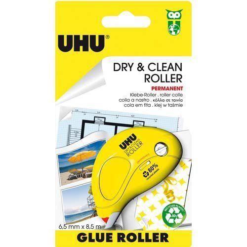 Uhu Dry & Clean Roller 50465 Colle Applicateur Permanent Jetable Jaune Lot de 6