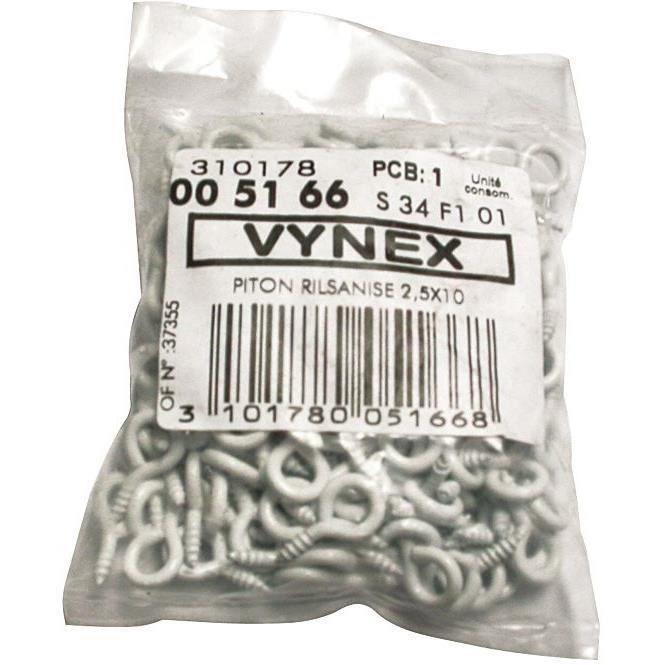 Piton à vis - lot de 200 - acier rilsanisé - 2.5x10 mm