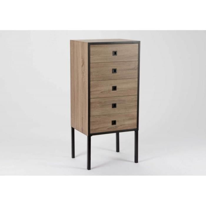 chiffonnier design moderne 5 tiroirs effet bois naturel brut achat vente chiffonnier. Black Bedroom Furniture Sets. Home Design Ideas