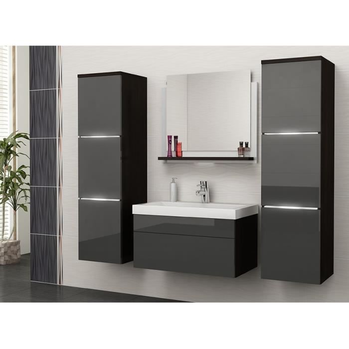 salle de bain compl te luna weng et gris fa ade laqu. Black Bedroom Furniture Sets. Home Design Ideas