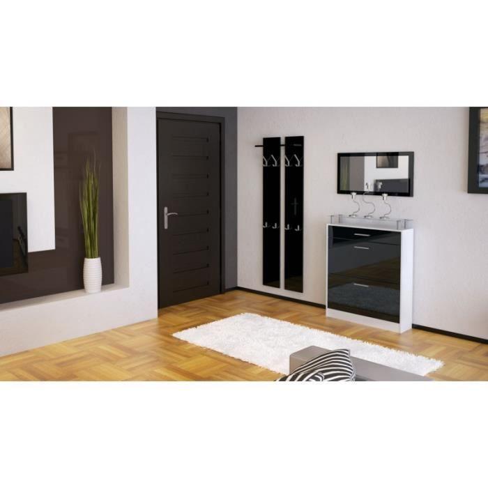 ensemble de hall d 39 entr e blanc et noir laqu achat vente meuble d 39 entr e ensemble de hall d. Black Bedroom Furniture Sets. Home Design Ideas