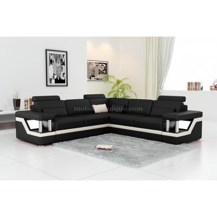 canap d 39 angle en cuir noir et blanc design achat vente canap sofa divan cuir chrome. Black Bedroom Furniture Sets. Home Design Ideas