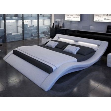 lit design furtado ii led blanc 180 cm achat vente. Black Bedroom Furniture Sets. Home Design Ideas