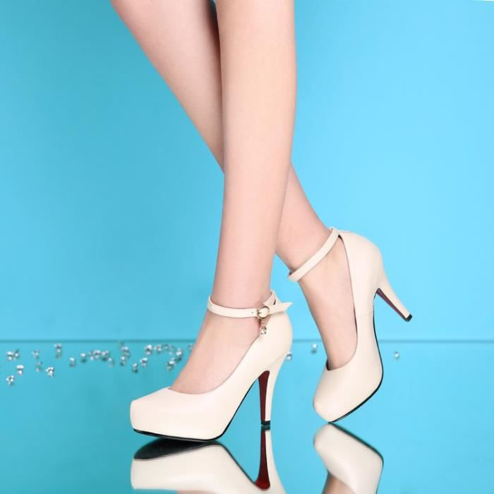 talons hauts-Pure Color Heel Thin Band Women Fa...