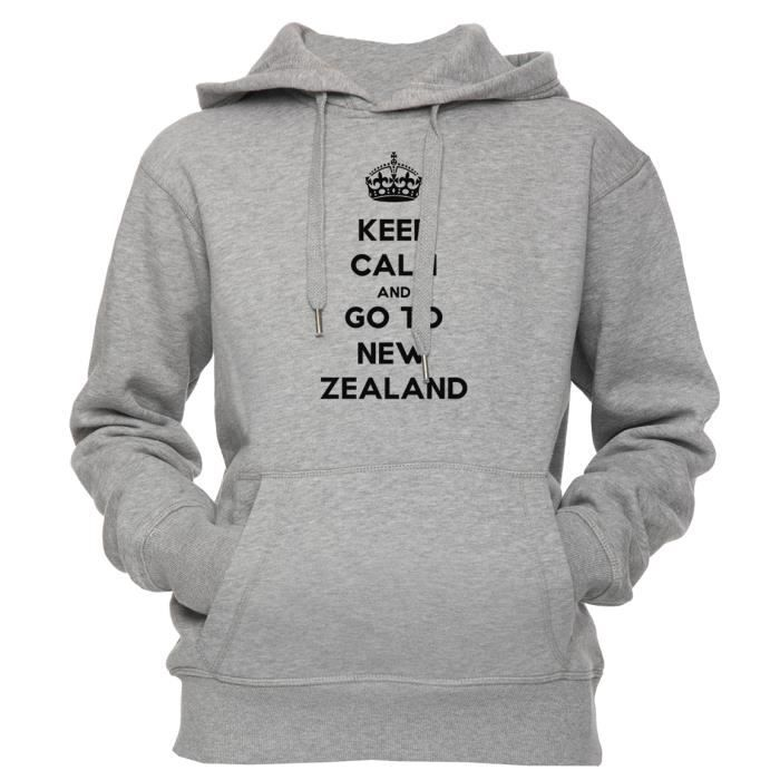 À Men's And New Capuche Taille Unisexe Homme Women's Keep Go Sweat Femme Hoodie Sweatshirt To Zealand Gris S Calm Unisex m0wvN8n