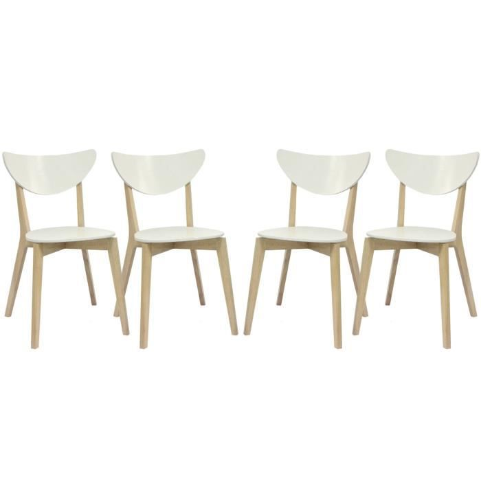 lot de 4 chaises en bois blanc bois koja achat vente chaise bois cdiscount. Black Bedroom Furniture Sets. Home Design Ideas