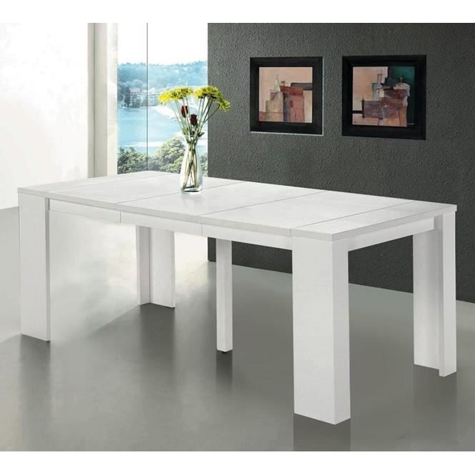 Table console extensible switch 10 couverts blanc achat for Table extensible 20 couverts