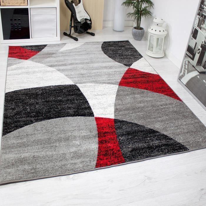 Tapis pour le salon - Gris, blanc, noir et rouge - 160 x 220 cm