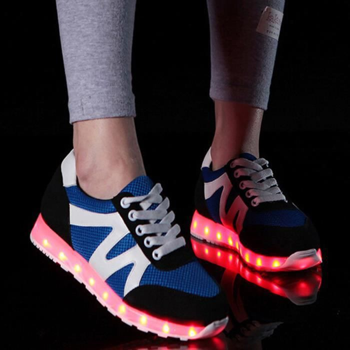 Fashion 7 couleurs LED Chaussures lumineuses USB de charge Light-up Lovers Sneakers