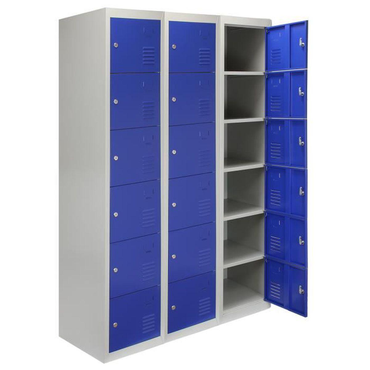 Décoration Pour Casier D École monstershop casier 3 portes 6 Étagères, bleu, gris casier verrouillable,  salle de sport, École, vestiaire