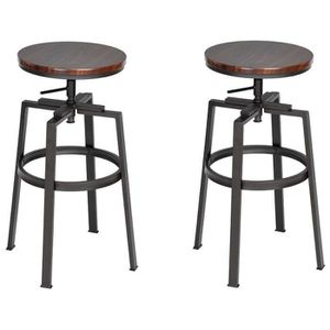 TABOURET DE BAR AMAT Lot de 2 tabourets de bar wengé en métal - Re