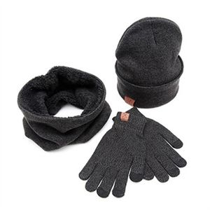 BONNET A MÈCHE Bonnet hiver chaud + écharpe + gants à écran tacti