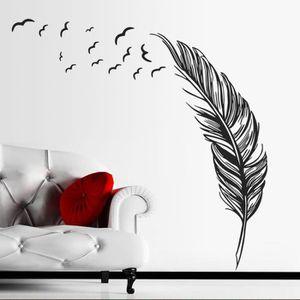 STICKERS Nouvelle Plume Chambre Autocollant Mural Oiseaux A