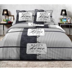 LINGE USINE Parure de draps Plum pour lit de 160 x 200 cm 4 Pieces