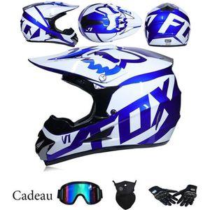 Casque de Moto-Cross avec Lunettes de Protection Gants Masque 52~55cm Moto DH Enduro VTT Descente Dirt Bikes Quad Casque de Moto Cross pour Les Enfants et Les Adultes Orange, S