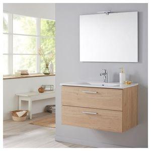 MEUBLE VASQUE - PLAN Meuble de salle de bain 80 cm couleur bambou