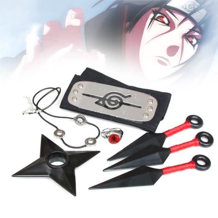 Anime Naruto Kakashi Accessoires Accessoires en Plastique Shuriken et Kunai, Bandeau, Jeu d'armes Ninja Jouets d'halloween.