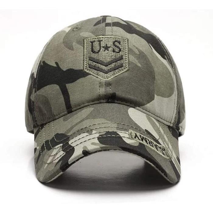 Casquette de Baseball Camouflage,Casquettes de Militaire Army Camo Baseball Caps Coton Casual Adjustable Réglable Boucle Métal Baseb