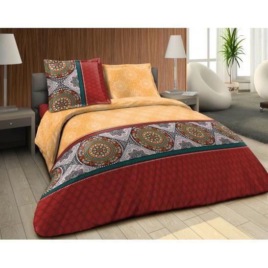 Pack complet Losange multi housse de couette pour lit 140 x 190 cm 100% coton / 57 fils/cm²