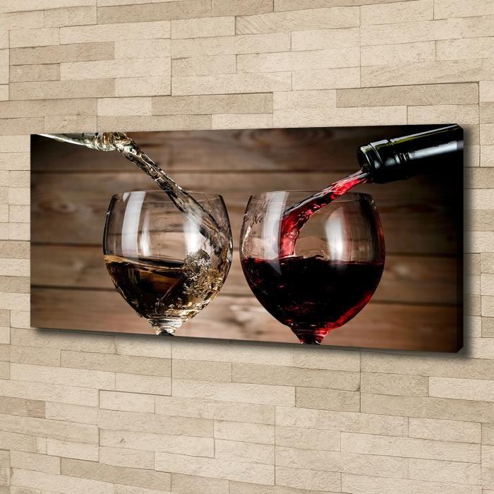Tulup 125x50 cm art mural - Image sur toile:- Nourriture boissons - Deux Verres De Vin - Rouge