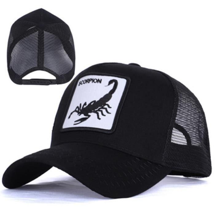 Scorpion-Black Adjustable -Casquette de Baseball en maille brodée d'animaux pour hommes, chapeau de camionneur, style Hip Hop, Sp