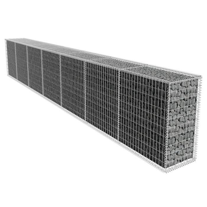 Mur en gabion avec couvercle Acier galvanisé 600x50x100 cm