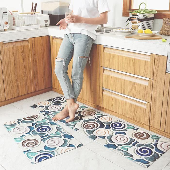 Tapis de sol en cuir résistant à l'huile de tapis de cuisine antidérapants imperméables de rectangle à la maison temps 45 * 75cm