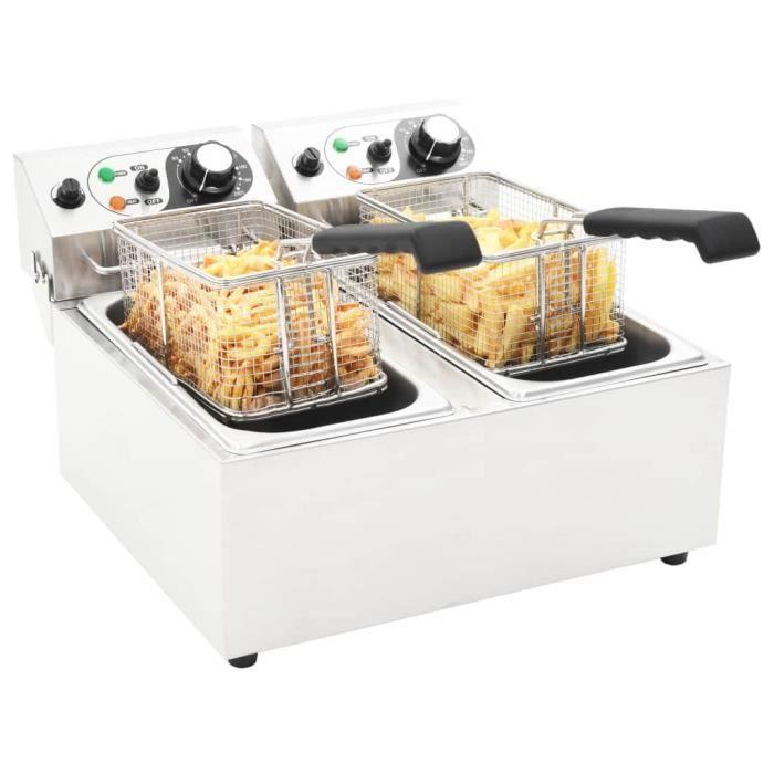 Friteuse électrique Double Professionnelle 4000 W - 12 L - Avec Zone Froide - Cuisine&Restaurant - En Inox Blanc