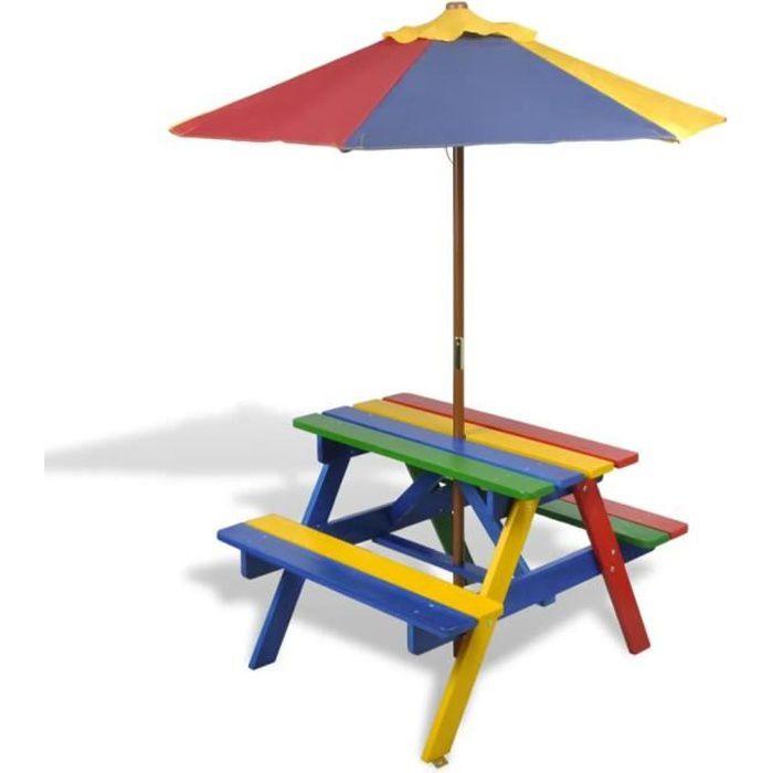 2225®Bon Table et bancs de pique-nique,Balcon,Ensemble Table et 2 bancs avec parasol pour enfants,Salon de Jardin,4 Enfants Bois