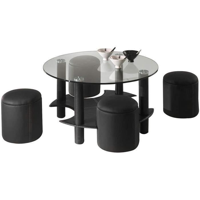 POUF Eva Table Basse Design Moderne avec 4 Poufs Sublimez Votre Salon avec Cette Table Basse Tendance Qualiteacute267