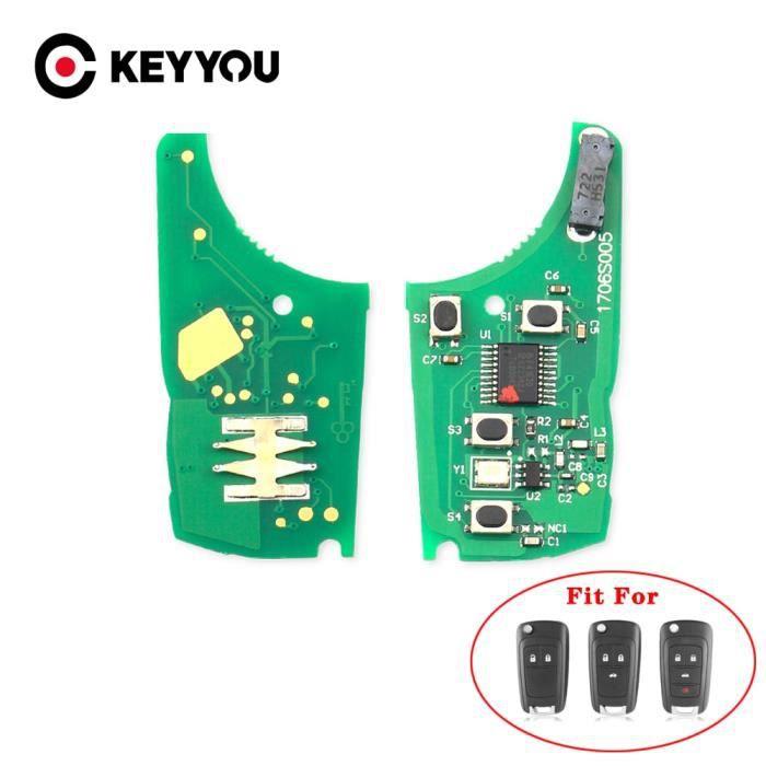 Coque clé,KEYYOU clé télécommande électronique, 433MHz, Circuit imprimé électronique, pour voiture Chevrolet Cruze Malibu Aveo
