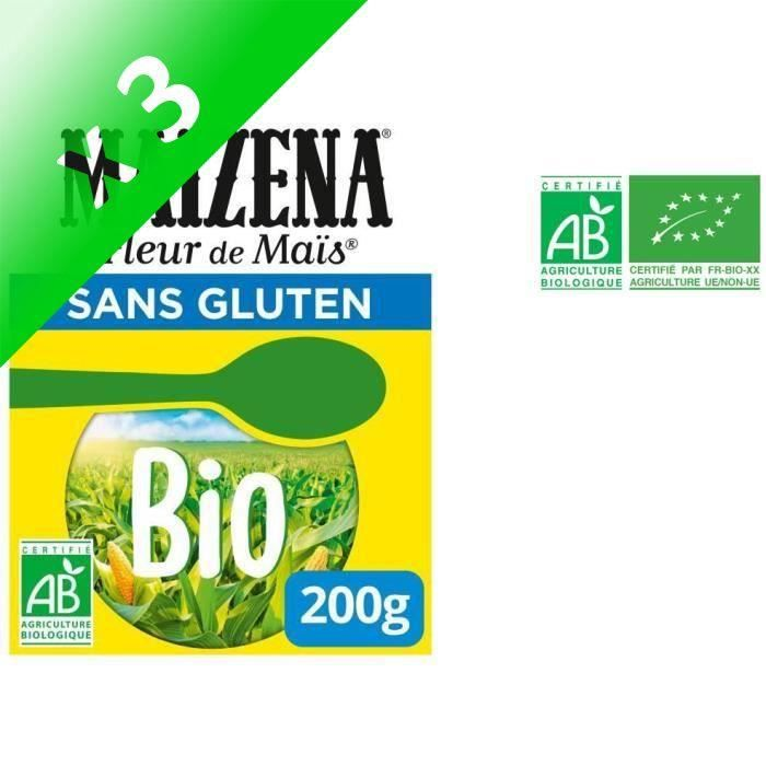 [LOT DE 3] MAIZENA Fleur de maïs bio - Sans gluten - 200 g