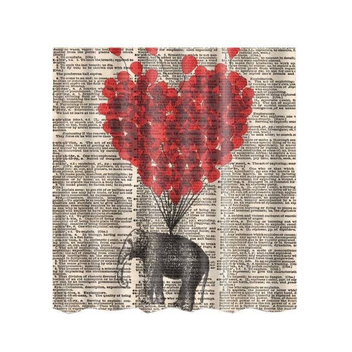 Rideau de Douche Tissu Imperméable à Motif Animal pour Salle de Bain avec 12 Crochets 180X180cm Coeur d'éléphant